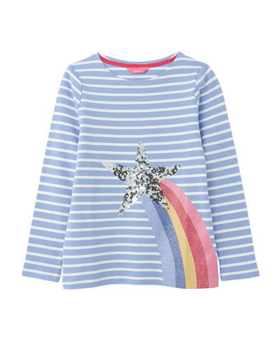 Girl's Harbour Luxe Striped Sequin Star Top, Size 4-10