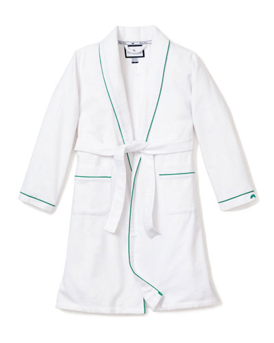 Kid's Flannel Contrast Piping Robe, Size 1-14