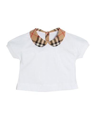 Mini Della Jersey Top w/ Check Collar, Size 6M - 2