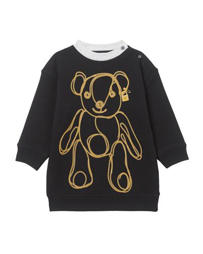 Girl's Chain Bear Fleece Sweatshirt Dress, Size 6M-2
