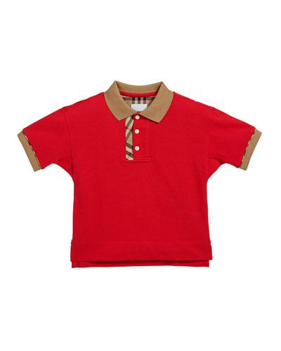 Boy's Archie Check-Trim Polo Shirt, Size 3-14