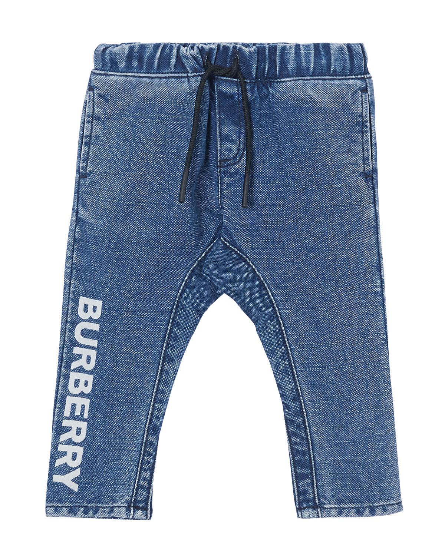Burberry BOY'S CURRAN DRAWSTRING DENIM JEANS W/ LOGO PRINT DOWN LEG