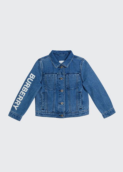 Boy's Dillen Indigo Denim Logo Jacket, Size 3-14