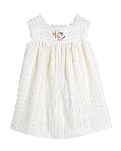 Girl's Striped G Flower Embroidered Dress, Size 6-36 Months