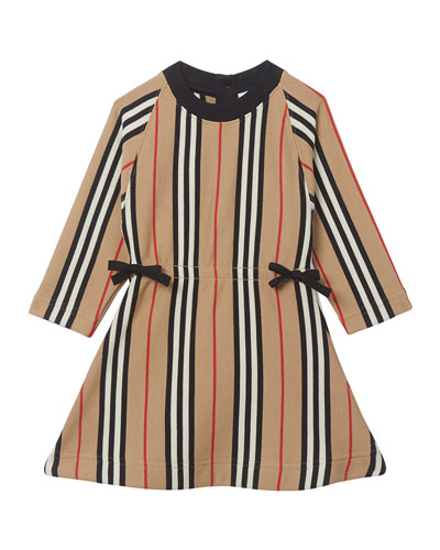 Girl's Chiara Icon Stripe Terry Dress, Size 6M-2