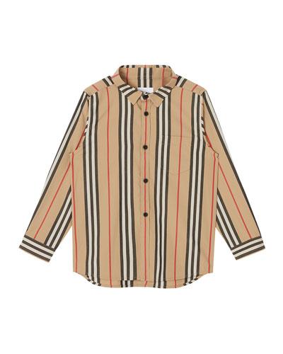 Boy's Fredrick Icon Stripe Long-Sleeve Shirt, Size 3-14
