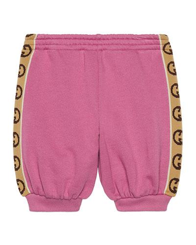 Girl's Jogging Pants w/ GG Jacquard Side-Trim, Size 9-36 Months