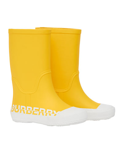 Hurston Two-Tone Logo Rubber Rain Boots, Baby/Toddler