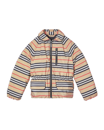 Girl's Mollie Icon Stripe Puffer Jacket, Size 3-14