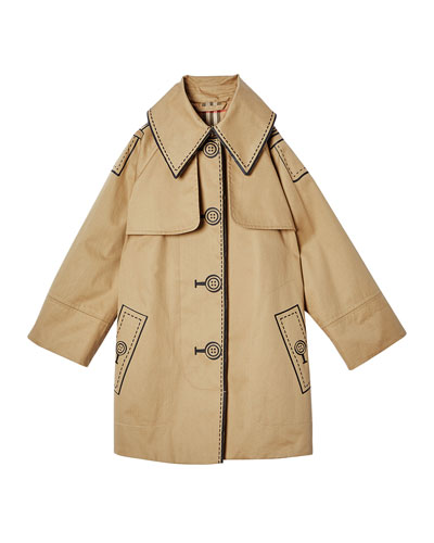 Girl's Bethel Trompe l'oeil Trench Coat, Size 3-14