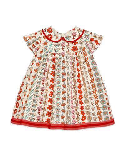 Girl's Floral Stripe Short-Sleeve Poplin Dress, Size 12-36 Months