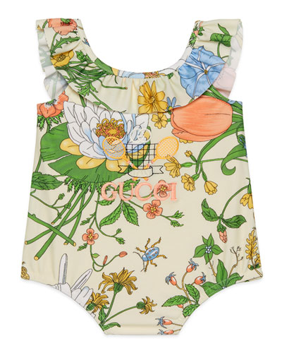Girl's Floral Ruffle-Trim One-Piece Swimsuit, Size 6-36 Months