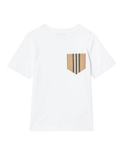 Boy's Short-Sleeve Icon Stripe Pocket Tee, Size 3-14
