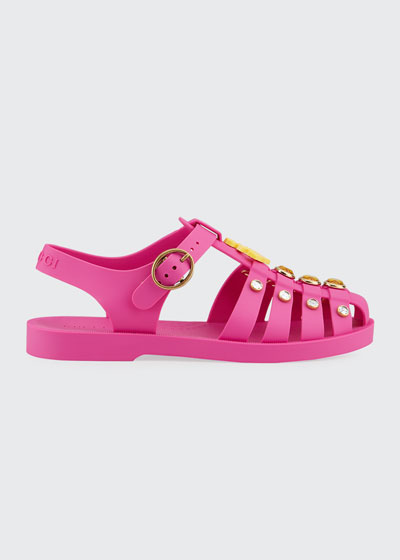 Crystal Trim Cutout Jelly Sandals, Toddler/Kids