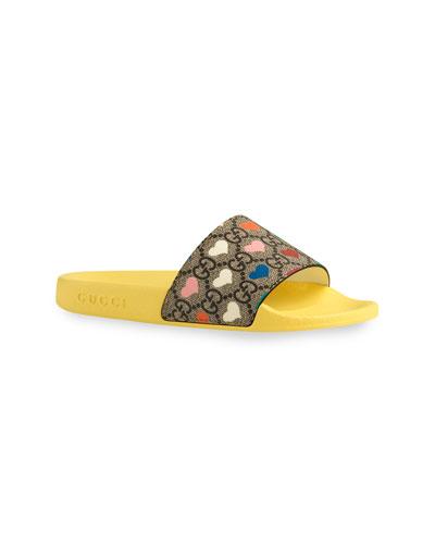 Pursuit GG Supreme & Hearts Slide Sandals, Toddler/Kids