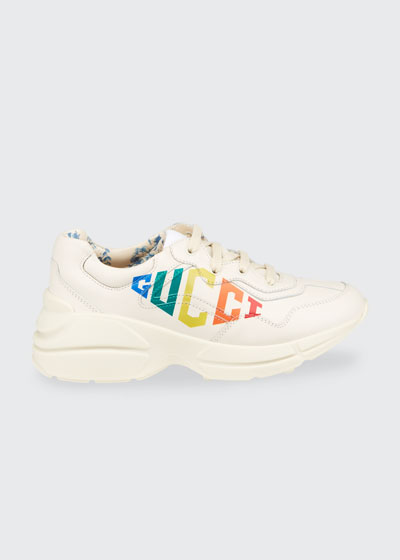 Rhyton Rainbow Logo Chunky Leather Sneakers, Toddler/Kids