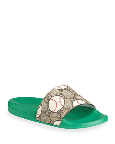 Pursuit Baseball Print GG Supreme Slide Sandals, Toddler/Kids