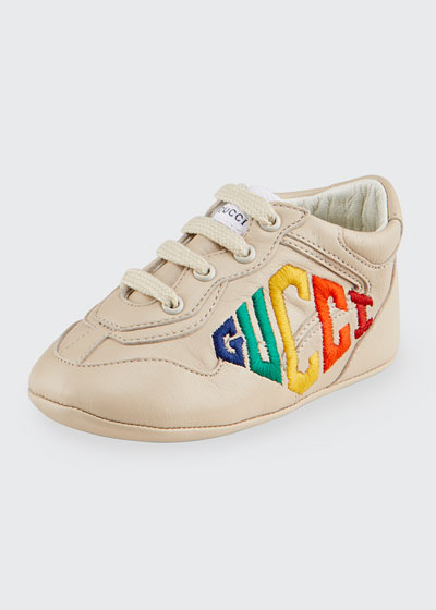 Rhyton Rainbow Logo Embroidered Leather Sneakers, Baby