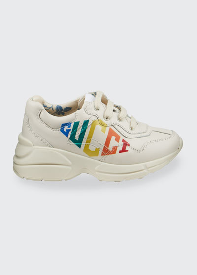 Rhyton Rainbow Logo Chunky Leather Sneakers, Baby/Toddler