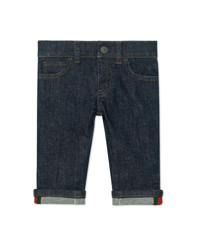 Kid's Straight-Leg Dark Denim Pants, Size 6-36 Months