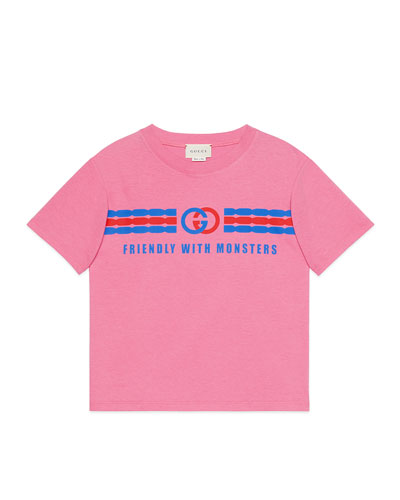 Girl's Friendly with Monsters Graphic Tee, Size 4-12
