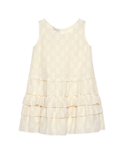 Kid Girl's GG Broderie Anglaise Dress, Size 4-12