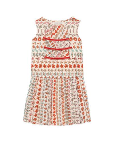 Spring Bouquet Striped Poplin Sleeveless Dress, Size 4-12