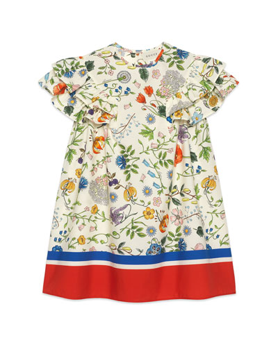 Flora Festival Printed Short-Sleeve Poplin Dress, Size 4-12