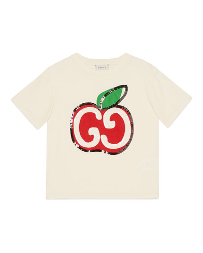 Girl's Sequin GG Apple Graphic Short-Sleeve T-Shirt, Size 4-10