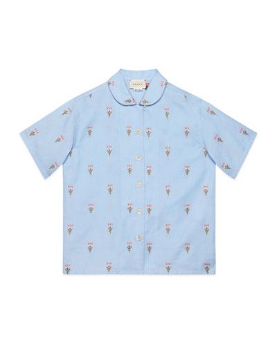 Girl's XXV & Flowers Fil Coup Oxford Shirt, Size 4-12