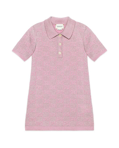 Girl's Metallic GG Jacquard Short-Sleeve Polo Dress, Size 4-12