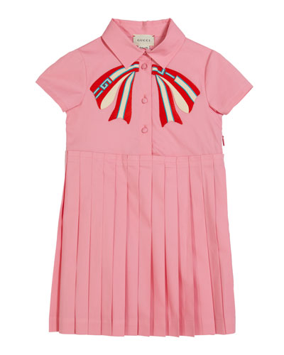 Girl's Collared Pleated Dress w/ Logo Bow Applique, Size 4-12