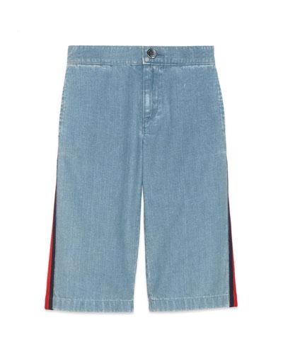 Girl's Stone Bleached Side-Stripe Denim Pants, Size 4-12