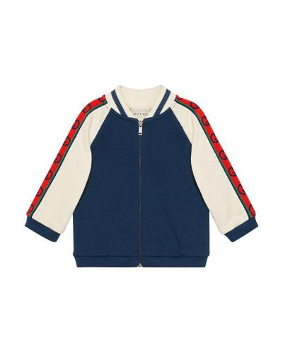 Boy's Fleece Zip-Front Baseball Jacket, Size 12-36 Months