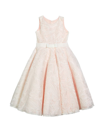 Girl's Gennavieve Lace Pearly Sleeveless Dress, Size 4-10
