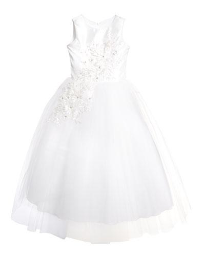 Girl's Bella Tulle 3D Applique Dress, Size 6-12