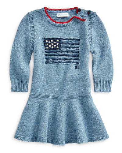 Girl's Flag Intarsia Long-Sleeve Dress, Size 3-24 Months