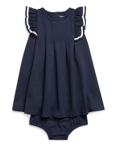 Girl's Nautical Ponte Knit Dress w/ Matching Bloomers, Size 6-24 Months
