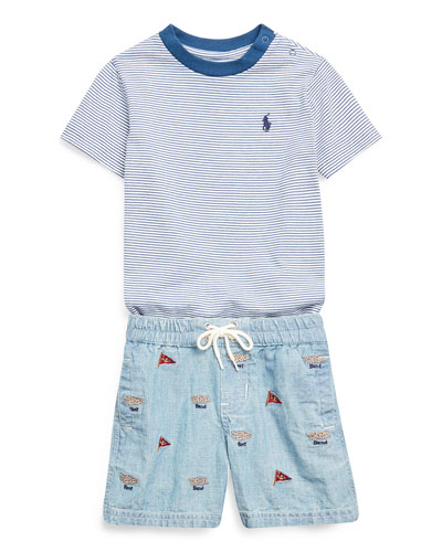 Boy's Striped Short-Sleeve Tee w/ Natural Embroidered Chambray Shorts, Size 6-24 Months