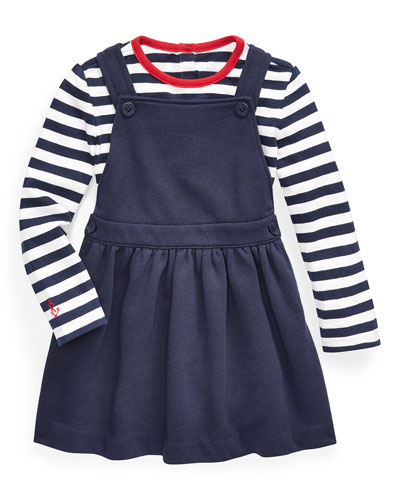 Girl's French Terry Overall Dress w/ Long-Sleeve Stripe Tee, Size 6-24 Months