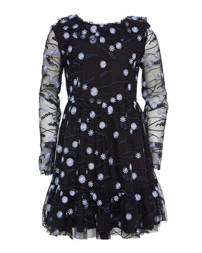 Girl's Candice Mesh Floral Embroidered Dress, Size 7-16