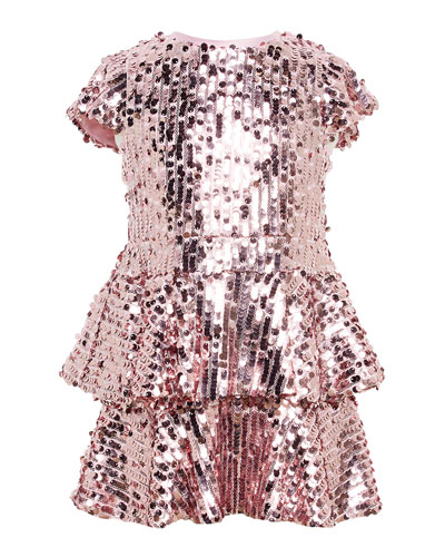 Girl's Leila Sequin Peplum Dress, Size 7-16