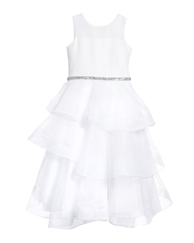 Girl's Ella Organza Tiered Dress, Size 7-12