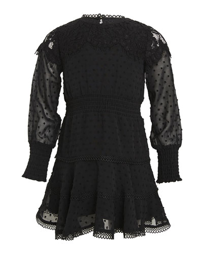 Girl's Liana Swiss Dot Lace Mini Dress, Size 7-16