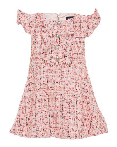 Girl's Lizzie Boucle Flutter Sleeve Dress, Size 7-16