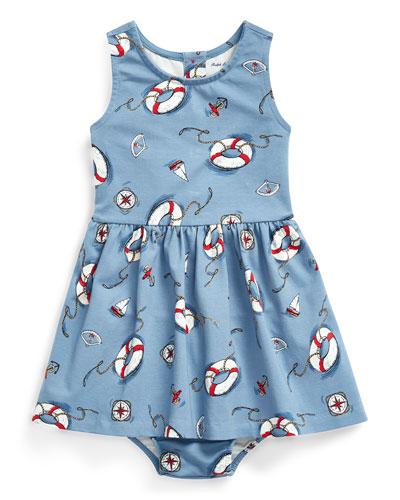Girl's Nautical Print Sleeveless Dress w/ Matching Bloomers, Size 6-24 Months