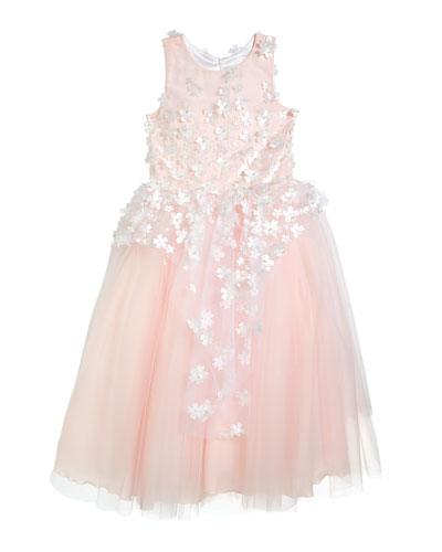 Girl's Lauren 3D Flower Embellished Tulle Dress, Size 4-12