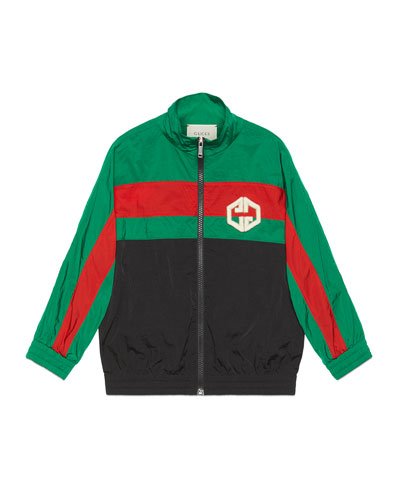 Boy's Colorblock Zip-Front Embroidered Nylon Jacket, Size 4-12