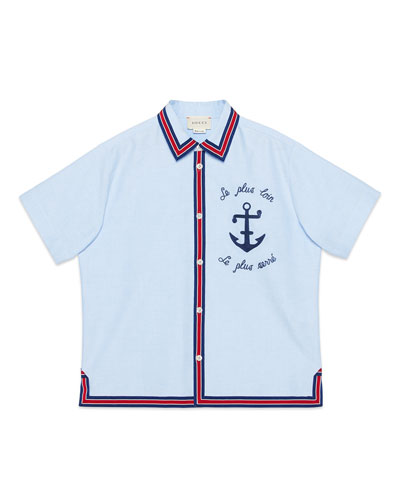 Anchor Embroidered Button-Down Shirt w/ Ribbon Trim, Size 4-12