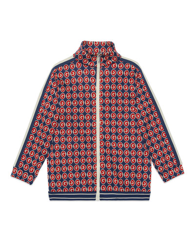 Boy's Allover G Print Zip-Front Cardigan, Size 4-12